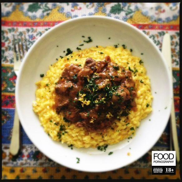 risotto alla milanese con ossobuco e gremolada