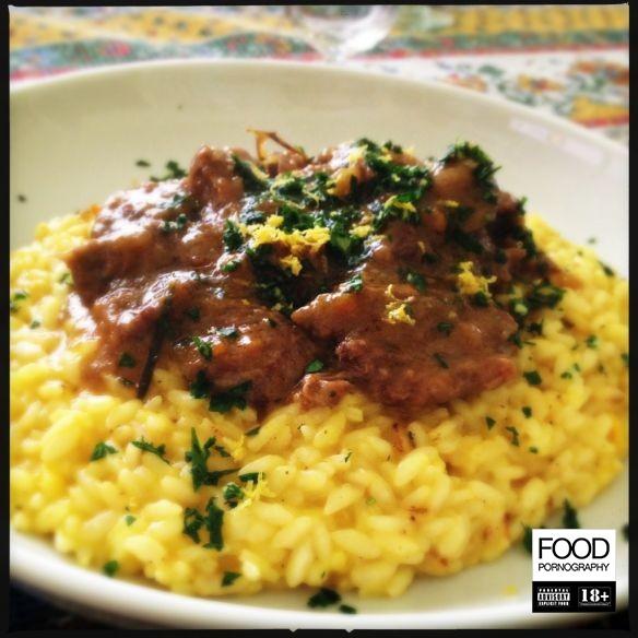 Ossobuco con risotto alla milanese e gremolada